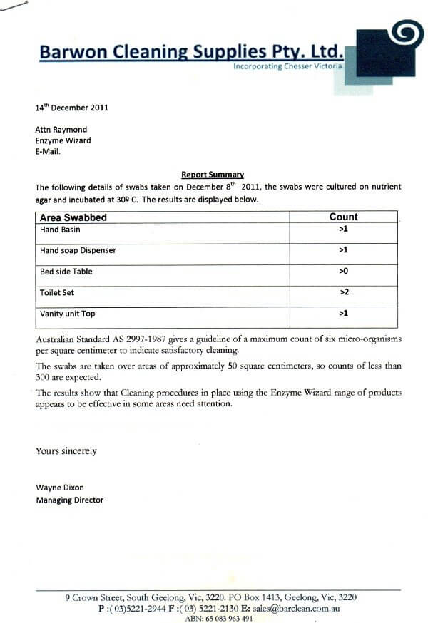 Barwon Cleaning Supplies - swab results report