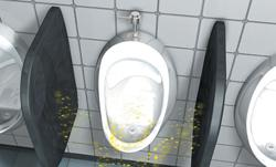 Indication of possible splash back using a standard urinal screen or block
